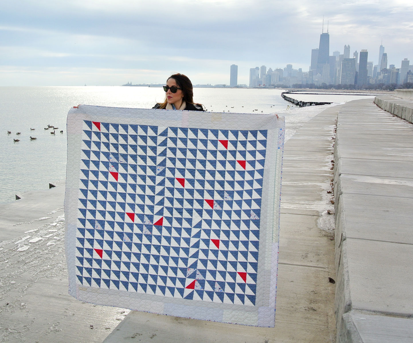 Lake Michigan In Denim Quilt