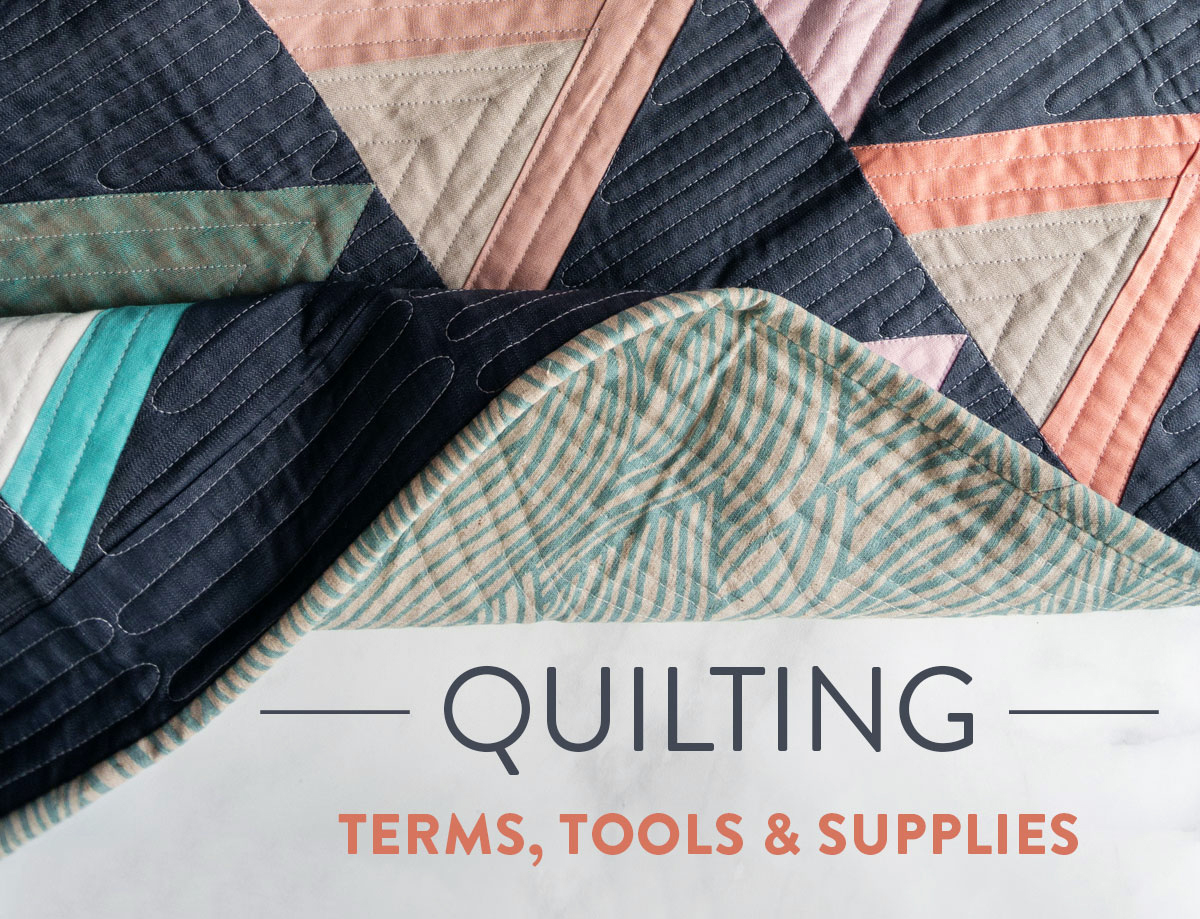 The perfect quilting reference. A conclusive list of basic and non-basic quilting terms, tools and supplies. In this post you'll learn common quilting acronyms and technique names | Suzy Quilts - https://suzyquilts.com/quilting-terms-tools-supplies