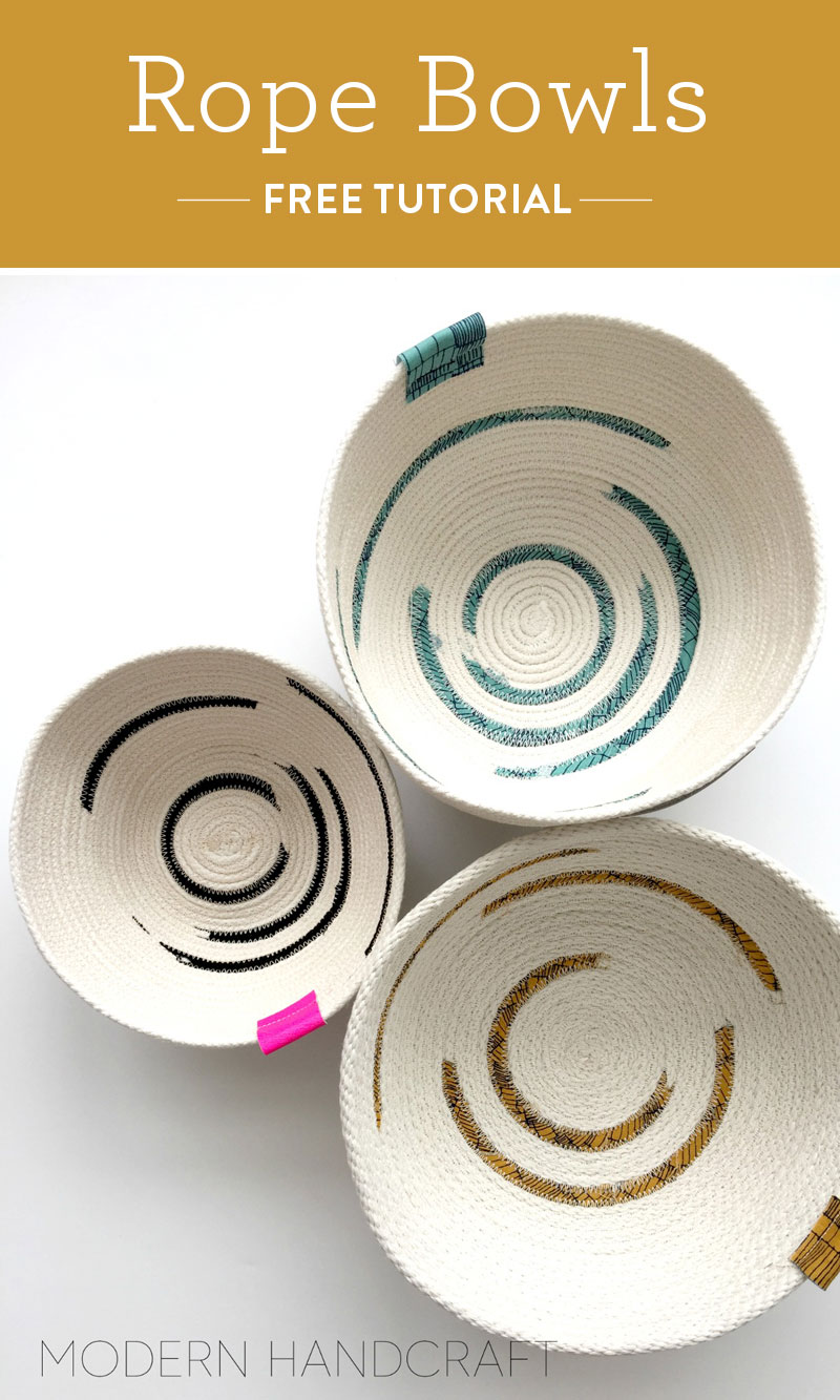 5 Small and Inexpensive DIY Sewing Christmas Gifts! Make pretty little rope bowls! suzyquilts.com #christmassewing