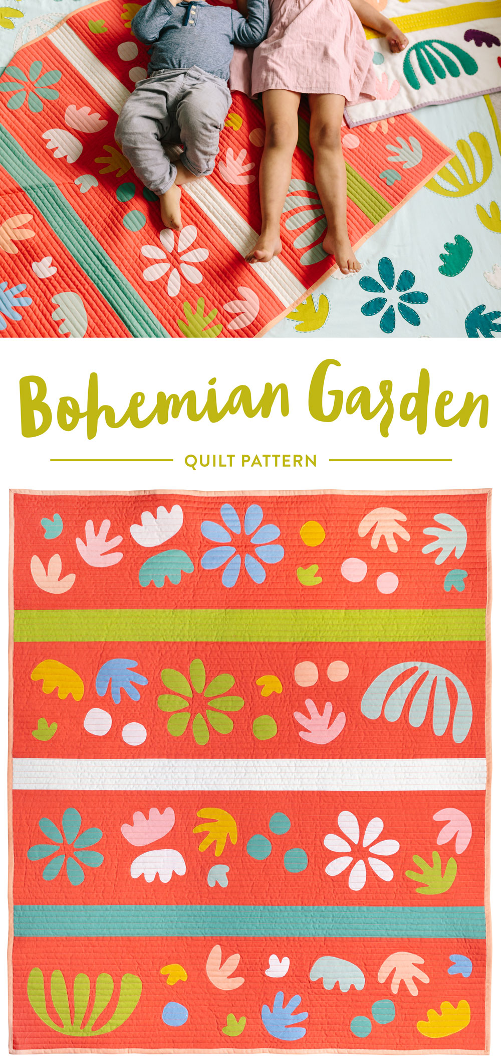 Get the Bohemian Garden quilt pattern – includes instructions for raw-edge applique. | Suzy Quilts https://suzyquilts.com/the-bohemian-garden-quilt-pattern