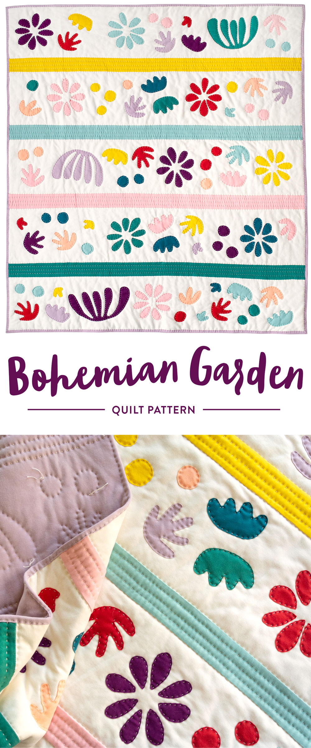 The Bohemian Garden quilt pattern can be made using regular quilt-weight cotton or cozy knit fabric! Check out the video tutorial on how to hand sew appliqué.