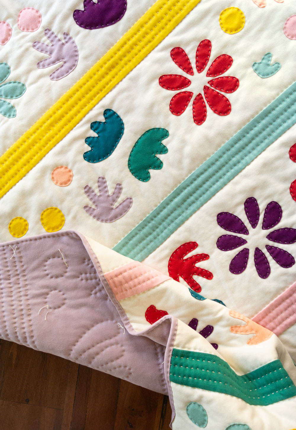 Bohemian Garden jersey knit quilt pattern available for PDF download