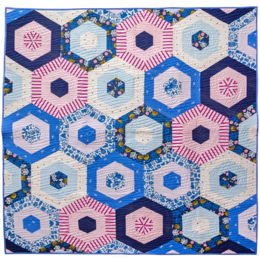 Handmade Periwinkle Hexie Quilt for Sale