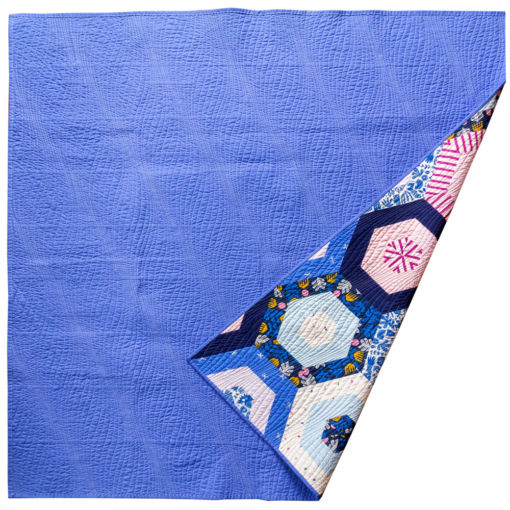 Periwinkle Hexies Quilt Back