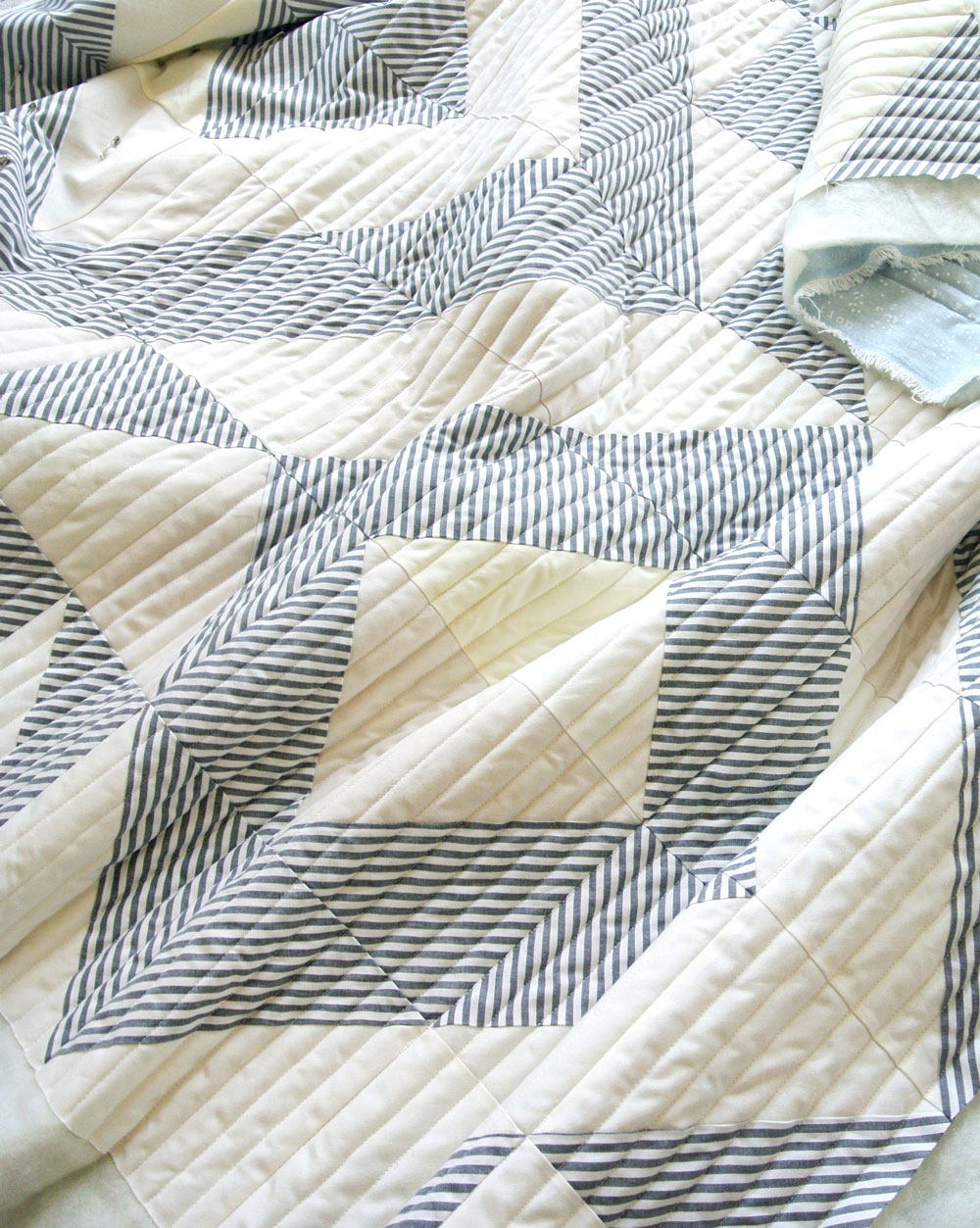 The straight line quilting on this Triangle Jitters quilt shows what fabric looks like before it is prewashed