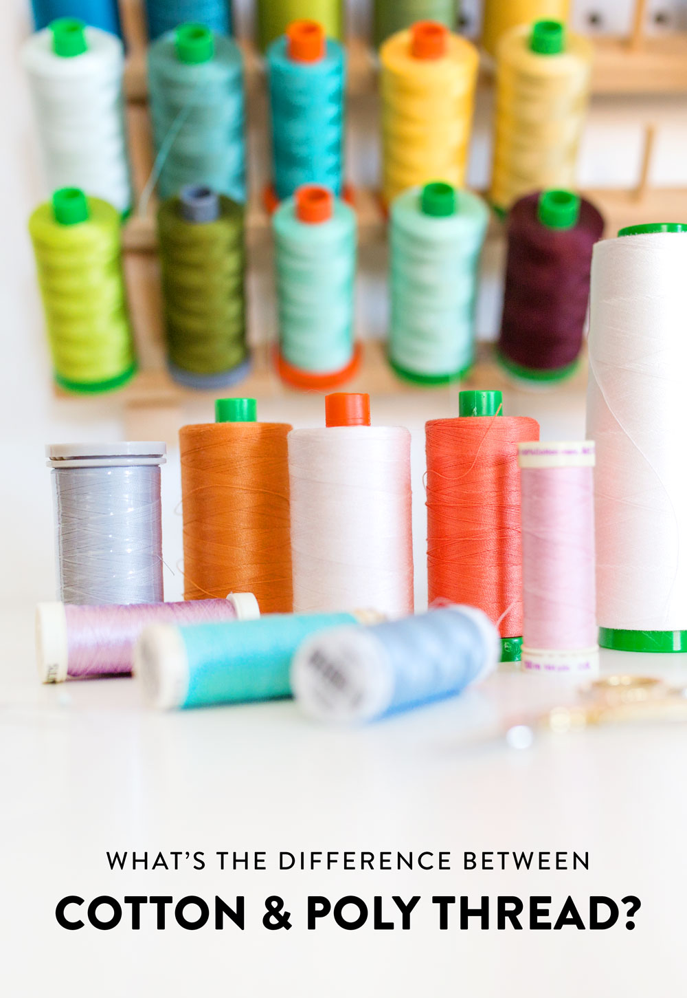 What's the difference between cotton and poly thread? Both can be wonderful for sewing, but each has very distinct strengths and weaknesses.