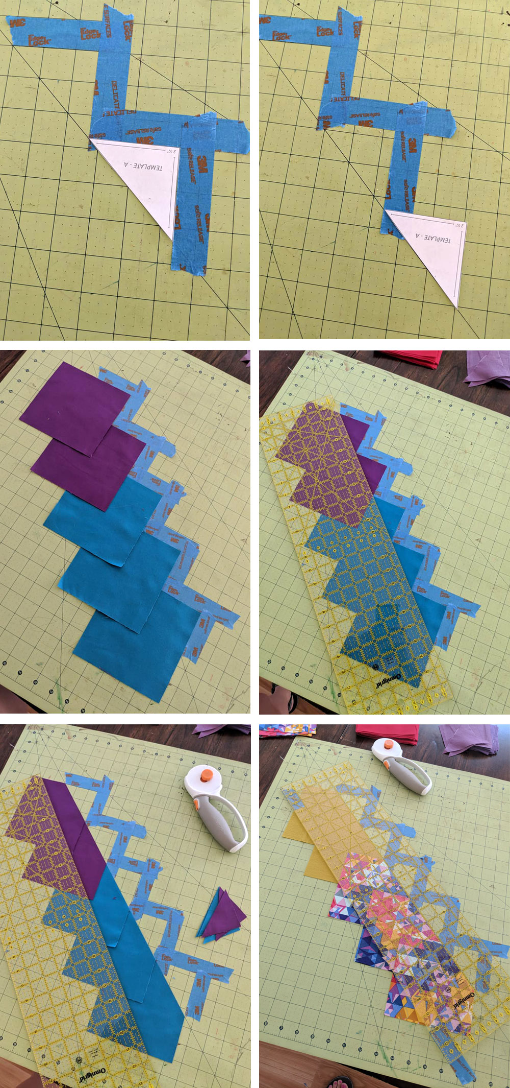 Glitter and Glow quilt pattern cutting hack. | Suzy Quilts https://suzyquilts.com/glitter-glow-quilt-pattern-use-scraps