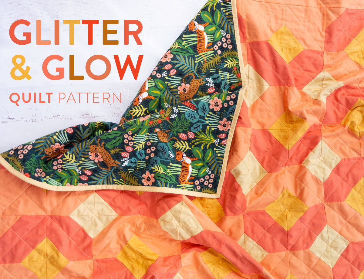 The Glitter and Glow quilt pattern is fun and versatile. Use yardage, fat quarters, or scraps you have in your stash! This peachy mango glow kit is backed with Rifle Paper Co. canvas and uses jersey rather than batting to create the perfect outdoor quilt.