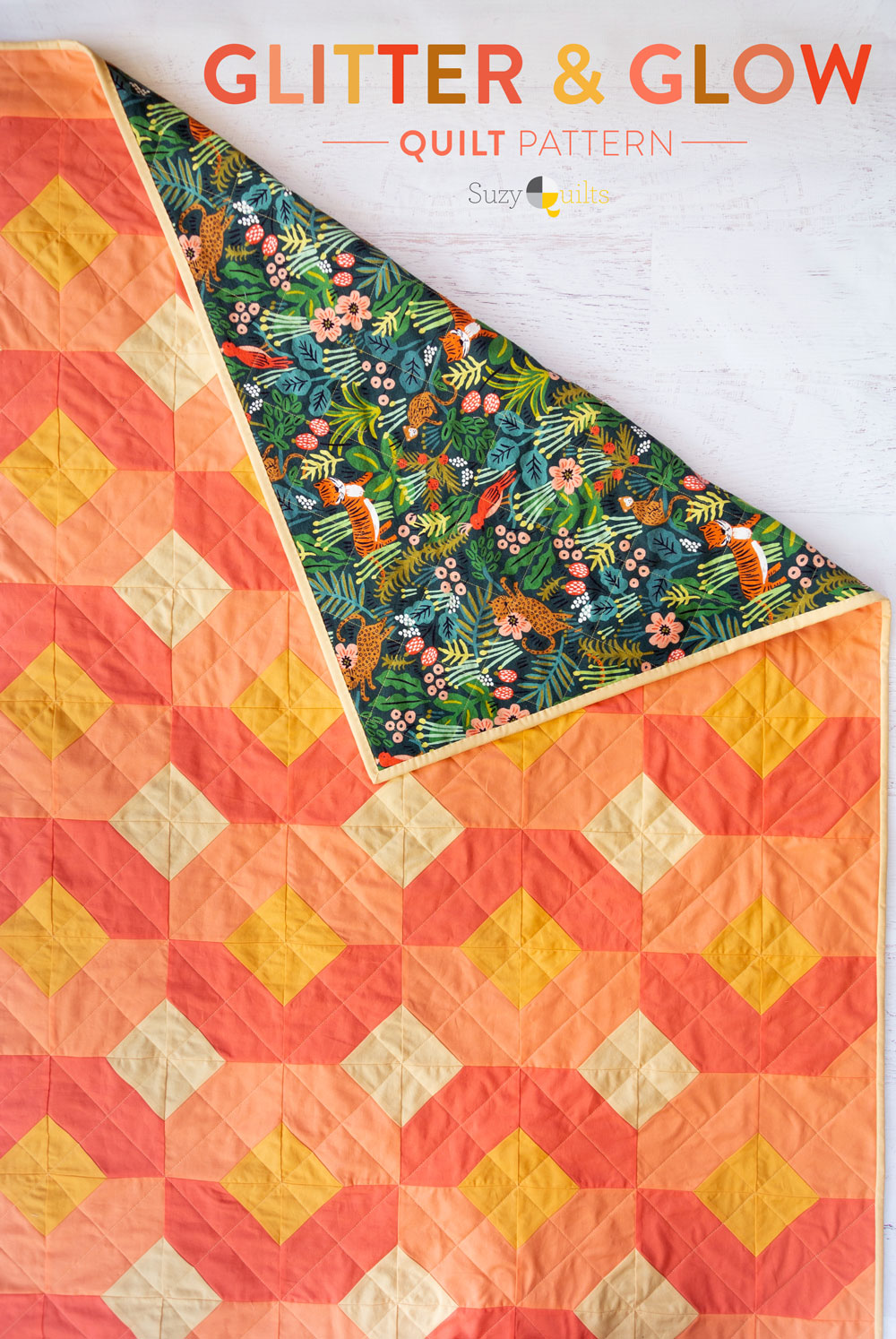 The Glitter and Glow quilt pattern is fun and versatile. Use yardage, fat quarters, or scraps you have in your stash!