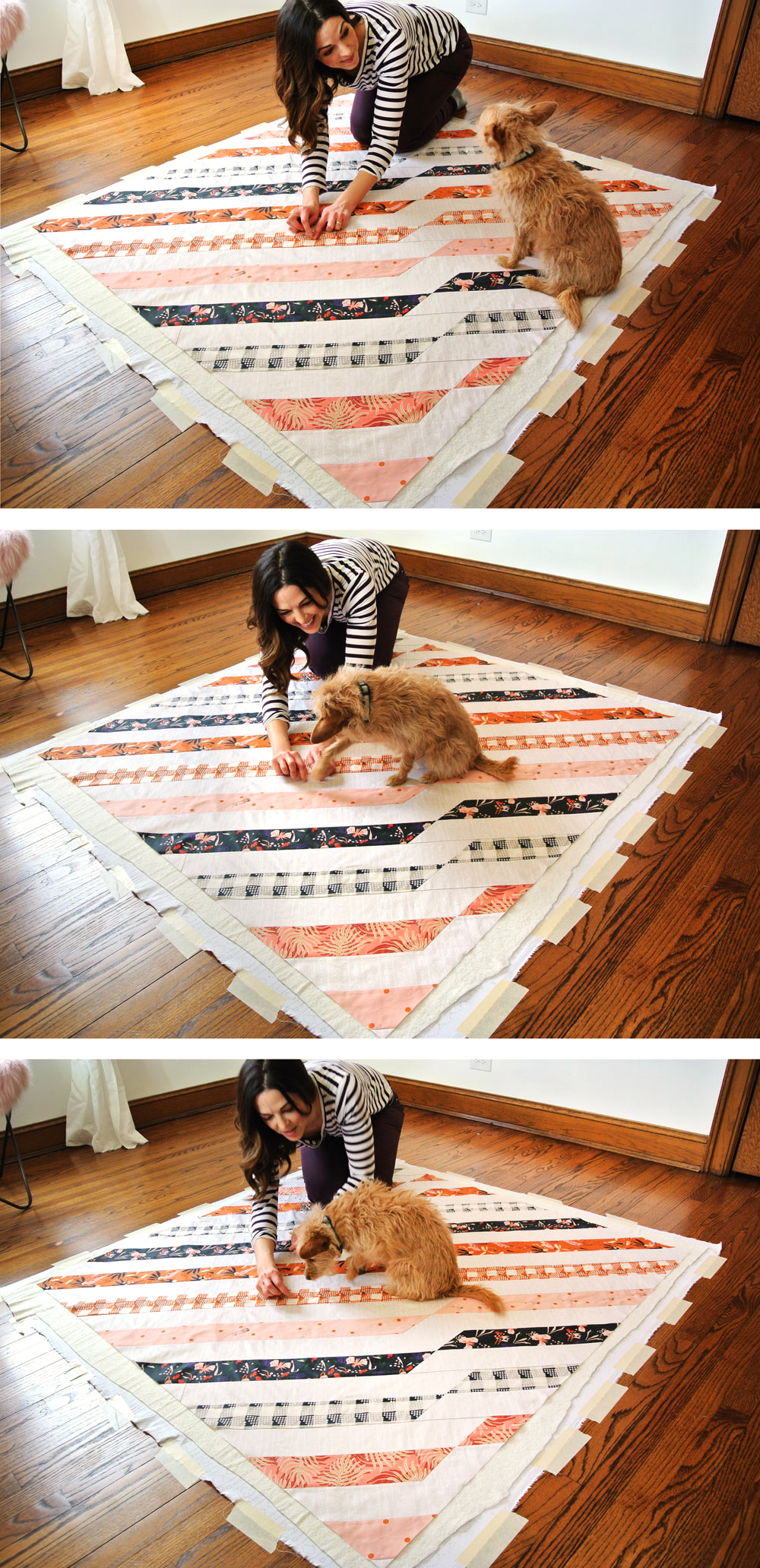 Basting the Free Twisted Ribbons Quilt Pattern. A fun modern design!