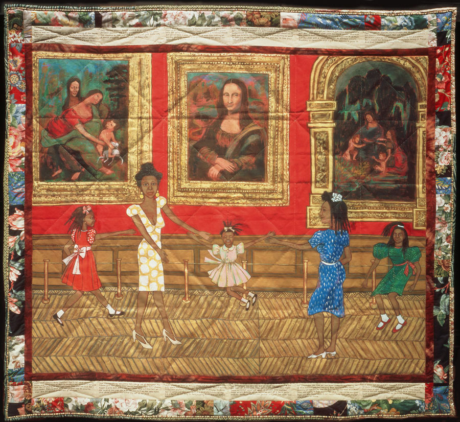 Faith Ringgold is an accomplished painter, writer, professor and quilter. By combining all of these things, she tells stories through painting in her quilts. This is titled Dancing at the Louvre.