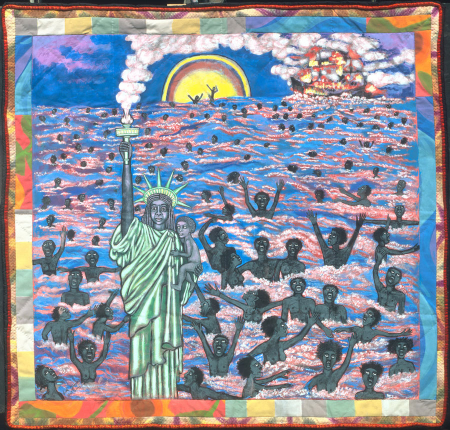 Faith Ringgold is an accomplished painter, writer, professor and quilter. By combining all of these things, she tells stories through painting in her quilts. This is titled We Came to America
