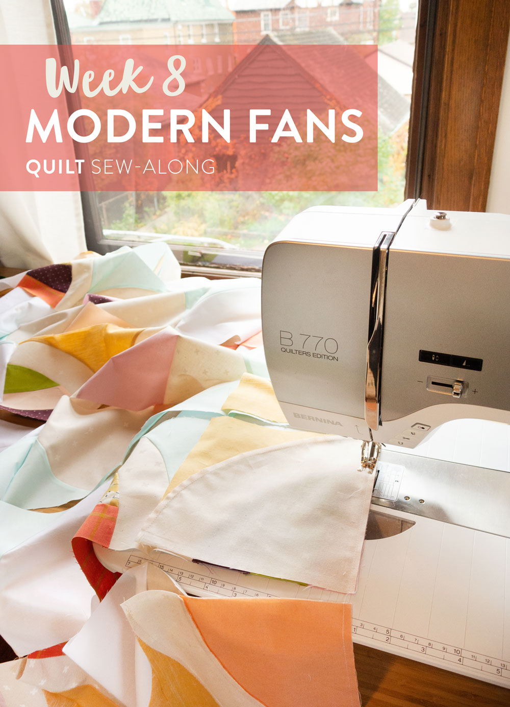 Join the Modern Fans quilt pattern sew-along for a chance to win a BERNINA 350 sewing machine along with other amazing prizes! Included are lots of video tutorials and support to help you learn to sew curves. This week we are chain piecing rows. Check out the video tutorial!
