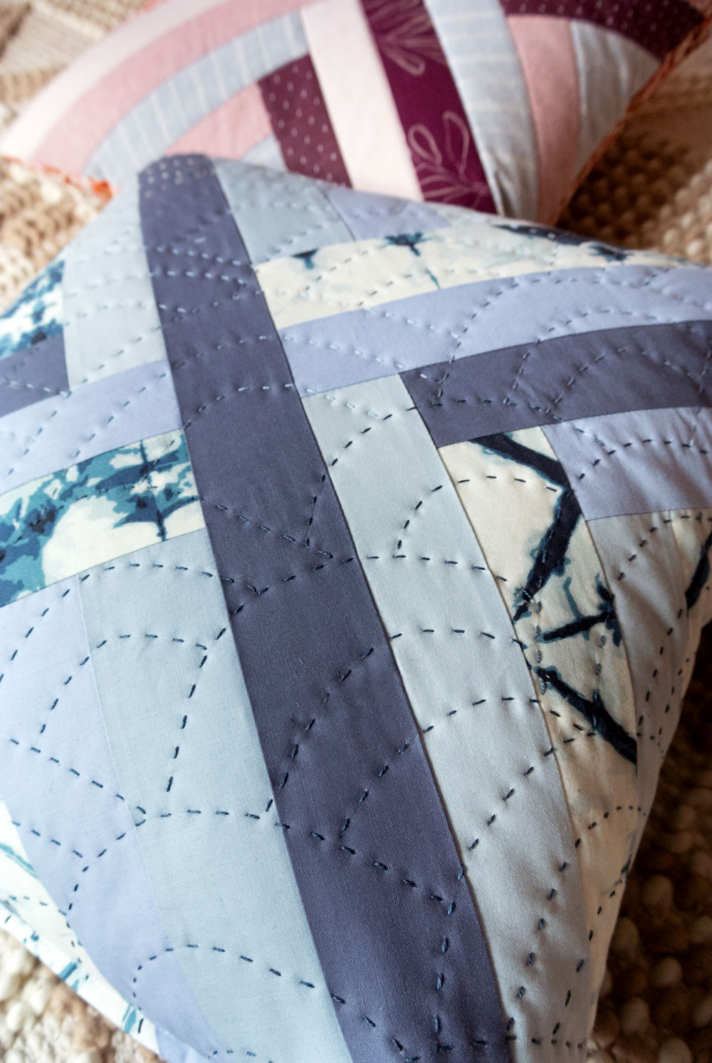 3 fun and fresh quilted pillow patterns for a modern look. Easy to follow patterns that are fat quarter friendly or use up scraps!