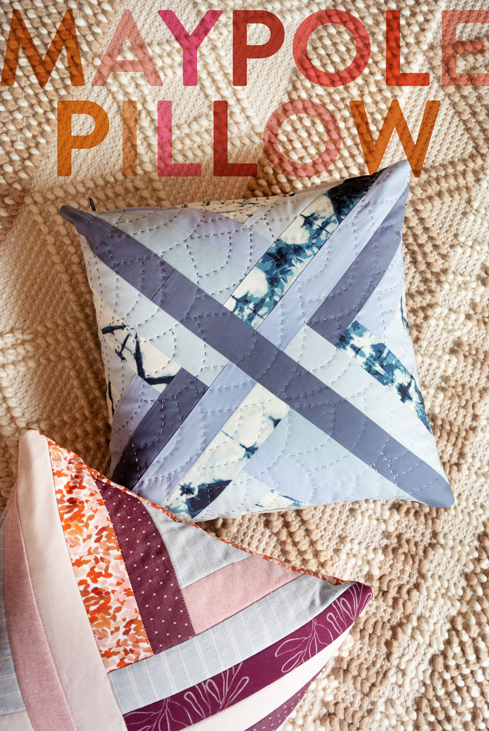 3 fun and fresh quilted pillow patterns for a modern look. Easy to follow patterns that are fat quarter friendly or use up scraps! | Suzy Quilts
