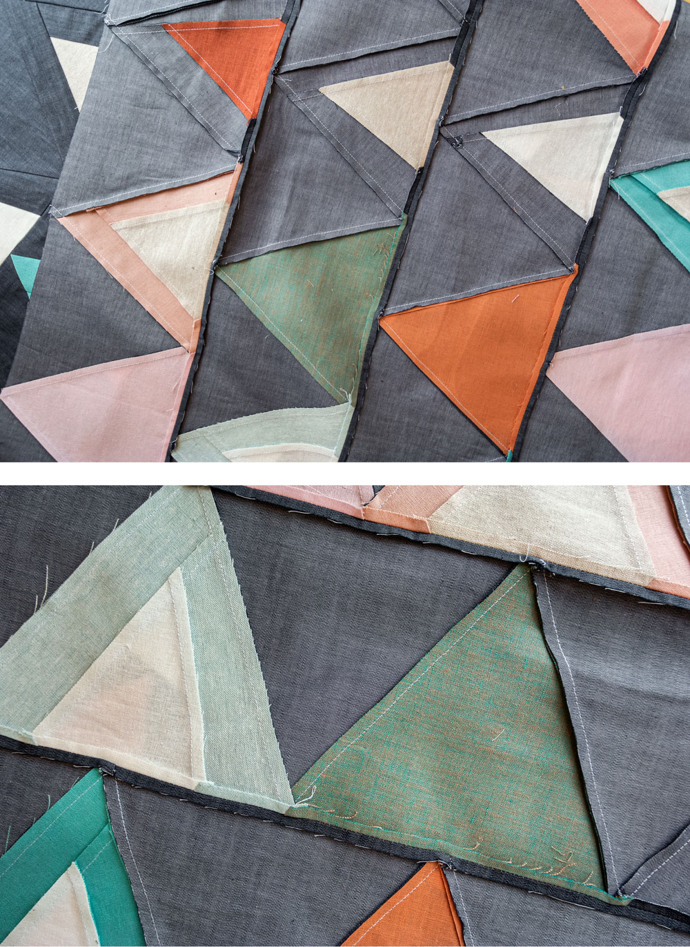 Tips and video tutorials on how to quilt with triangle blocks for the Perennial Quilt by Suzy Quilts | suzyquilts.com