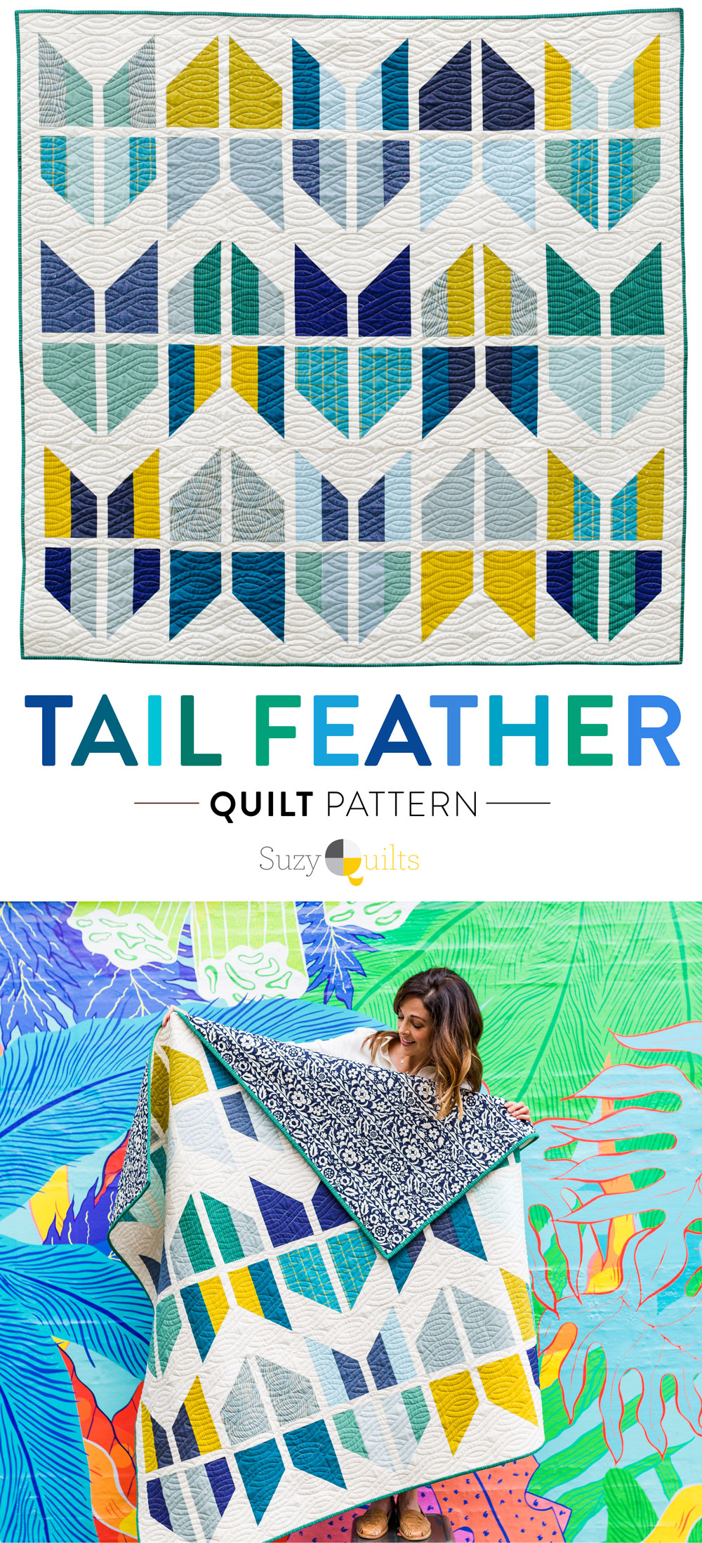 The Tail Feather Quilt Pattern is a modern quilt design that is fat quarter friendly! This PDF digital download includes queen, twin, throw and baby quilt sizes. A great beginner quilt pattern! SuzyQuilts.com #quiltpattern #boyquilt