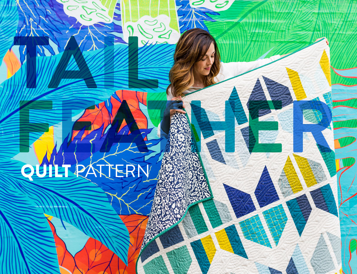 The Tail Feather Quilt Pattern is a modern quilt design that is fat quarter friendly! This PDF digital download includes queen, twin, throw and baby quilt sizes. A great beginner quilt pattern! SuzyQuilts.com #modernquilting
