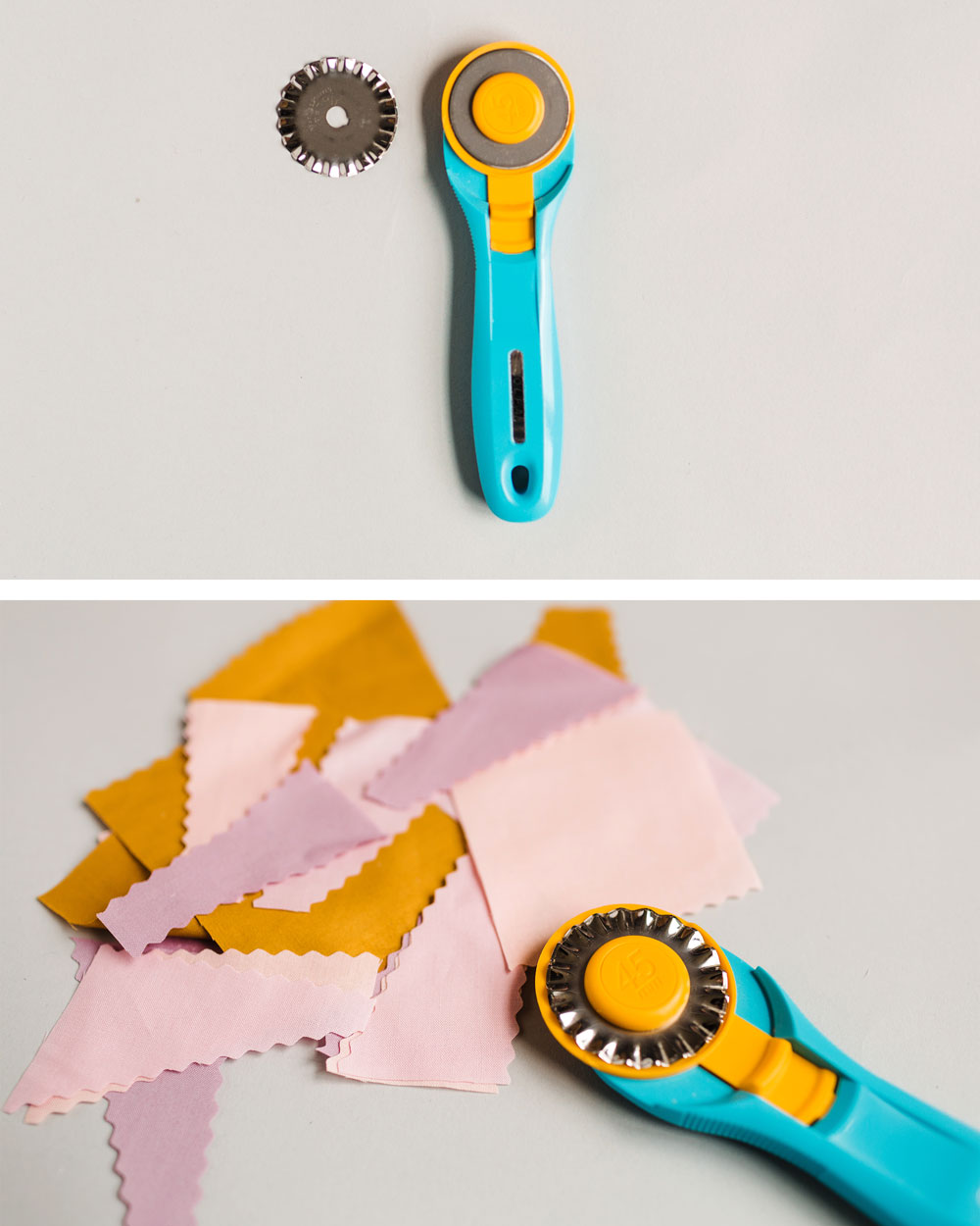 Learn all about different rotary cutter sizes, handles, and blades in this complete guide to quilting rotary cutters. Find the best rotary cutter for you! Suzy Quilts #rotarycutter #quiltingtools #quilting
