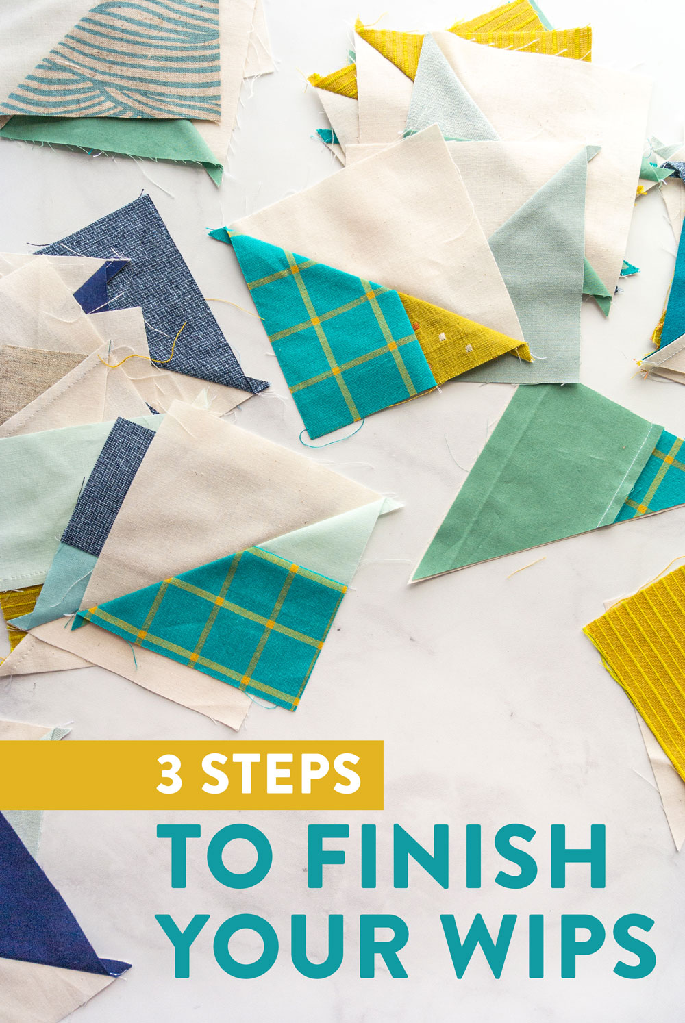 Finish your sewing WIPs! Quilters and crafters notoriously have multiple works in progress, or WIPs. These 3 steps will help you sift through those WIPs, clear them out or get them finished! suzyquilts.com #sewing #WIPs #HST
