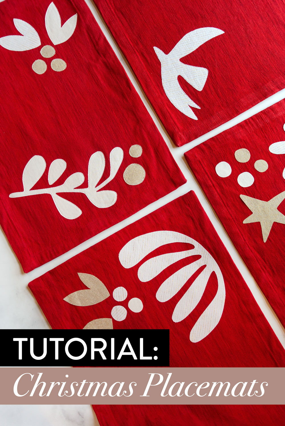 A FREE DIY Christmas placemats tutorial! This raw-edge applique sewing tutorial includes supplies, steps and a video tutorial PLUS free modern holiday applique templates! suzyquilts.com #ChristmasDIY #placematstutorial