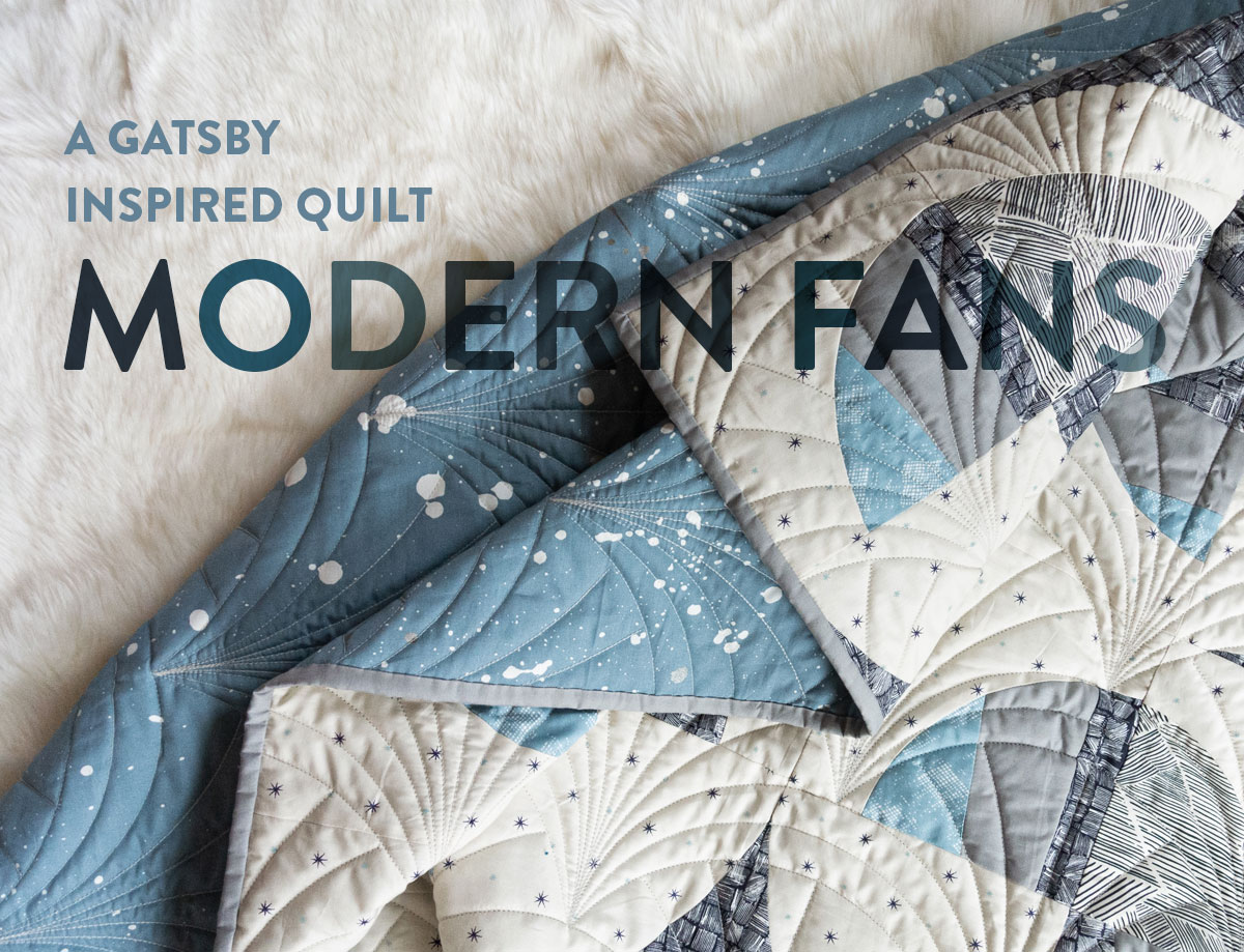 This Great Gatsby inspired Modern Fans quilt kit uses icy blues, grays and metallic silver fabric to bring elegance and pizzazz to a cozy quilt. suzyquilts.com