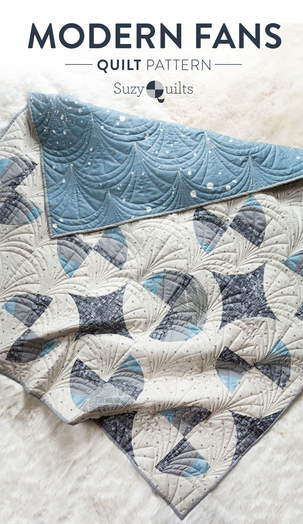 This Great Gatsby inspired Modern Fans quilt kit uses icy blues, grays and metallic silver fabric to bring elegance and pizzazz to a cozy quilt. suzyquilts.com #quiltpattern #artdecoquilt #modernfansquilt