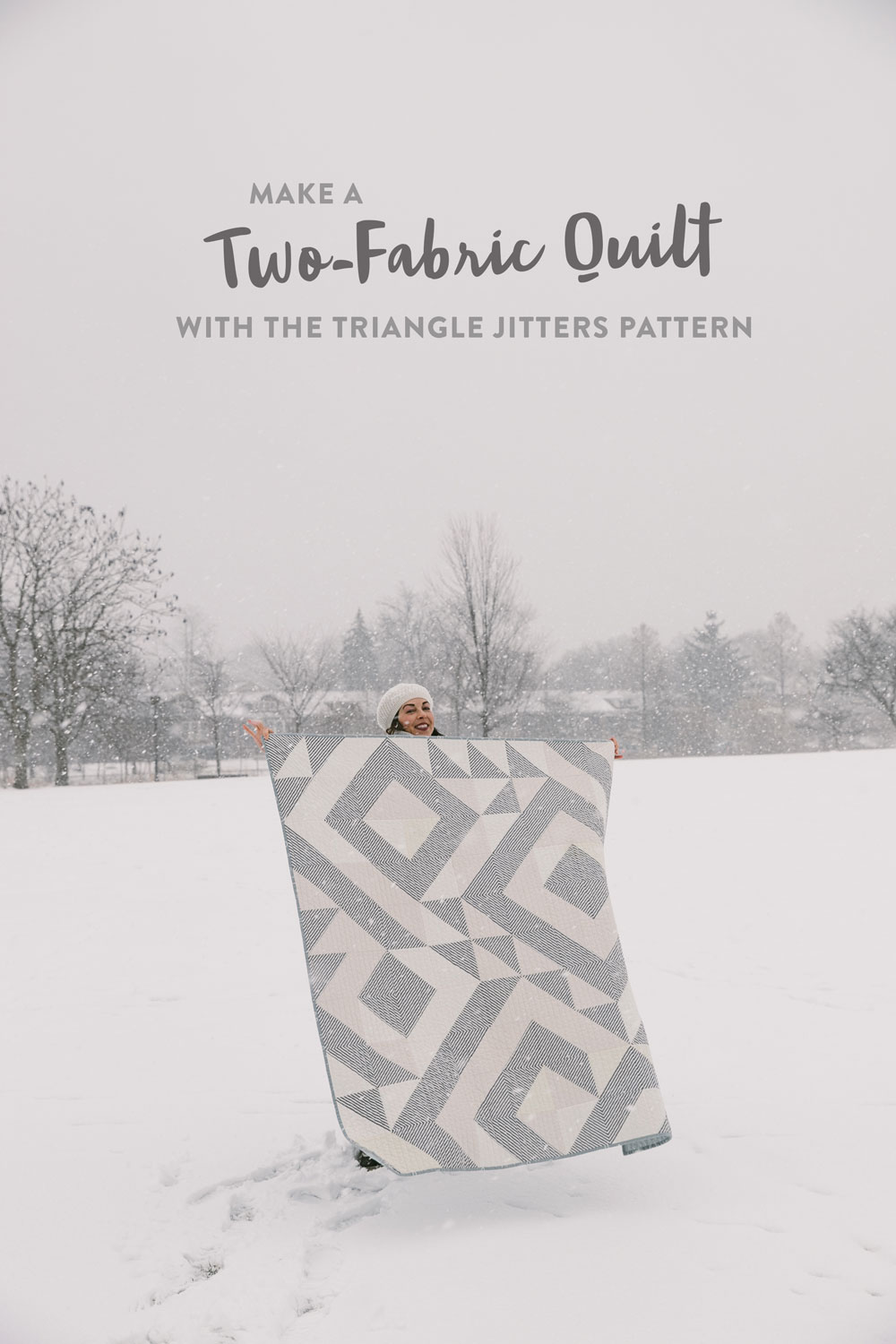 Elevate any quilt pattern to pure elegance by making it a two-fabric quilt. This neutral Triangle Jitters quilt uses cream scraps and a simple stripe. suzyquilts.com #twofabricquilt