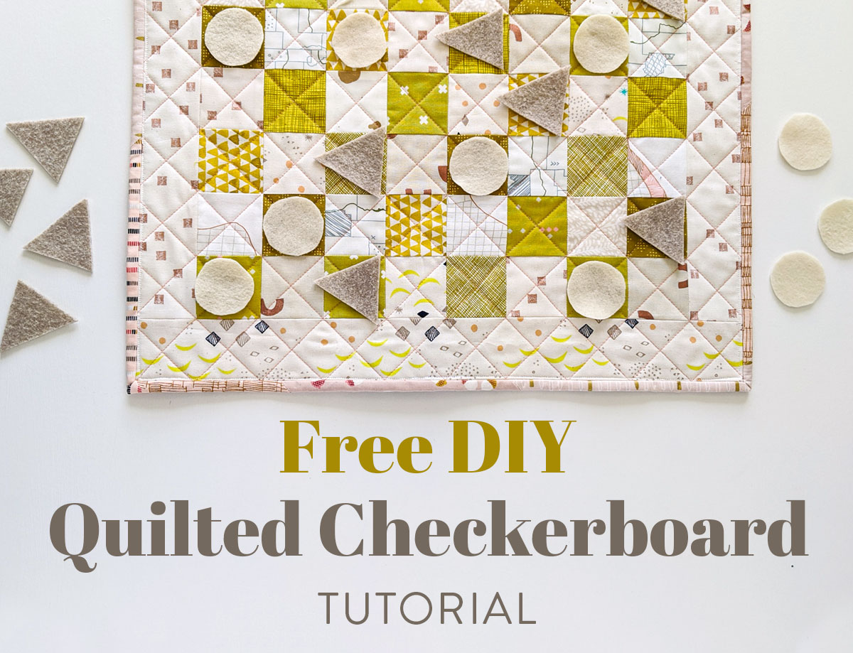 Learn all of the skills needed to make a quilt with this free DIY quilted checkerboard tutorial. A great sewing project for kids! suzyquilts.com #quilt #sewingtutorial