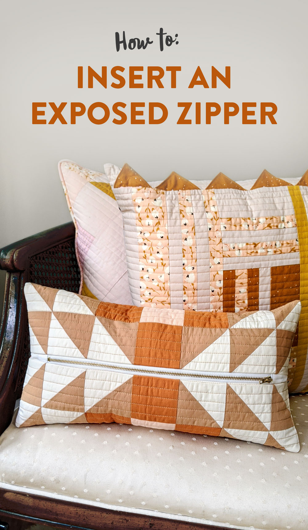 How to insert an exposed zipper into a pillow. Use this beginner tutorial to see how simple it is to sew a zipper in a quilted pillow! suzyquilts.com #zippertutorial