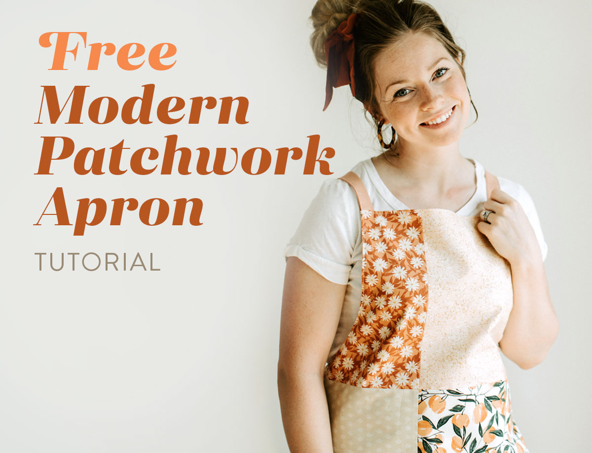 This modern patchwork apron tutorial is a quick project for beginners! It's a unisex apron that fits all sizes and you only need basic sewing supplies. suzyquilts.com #sewingtutorial