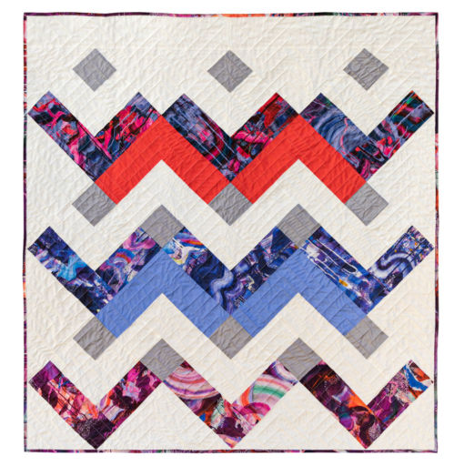 Thrive is a modern chevron motif quilt pattern PDF download. It includes king, queen/full, twin, throw and baby quilts sizes. A perfect Liberty of London baby quilt! suzyquilts.com #babyquilt