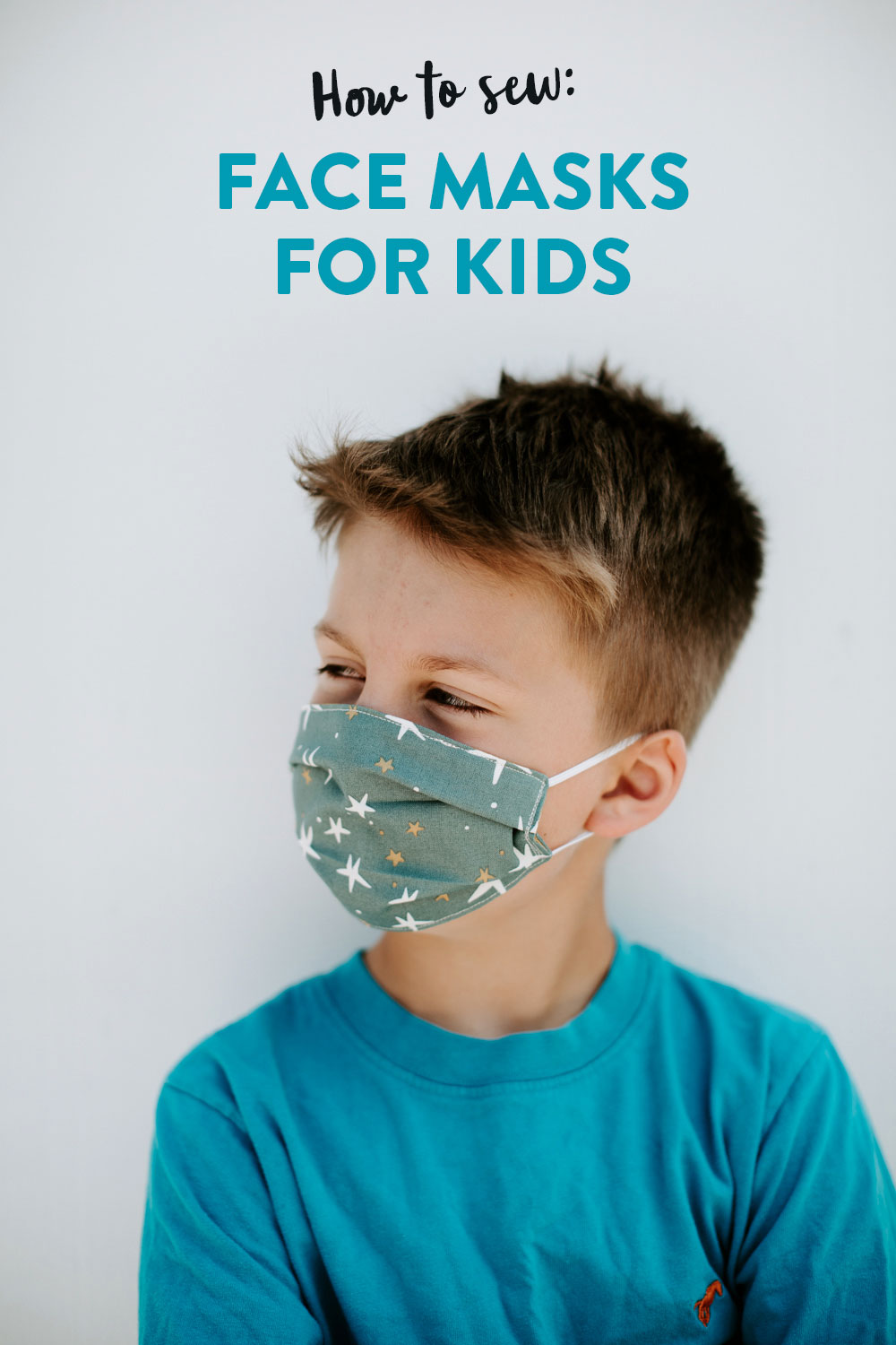 Learn how to make comfortable face masks for kids in this easy sewing tutorial! All you need is a little bit of fabric and some elastic. suzyquilts.com #facemasks #kidfacemask