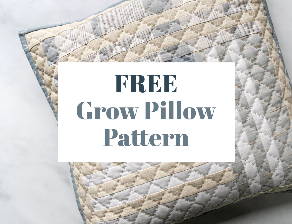 This FREE Grow pillow pattern gives you instructions to make a beautiful modern quilted pillow that finishes at 18-inches square. suzyquilts.com #quiltedpillow #freepillowpattern