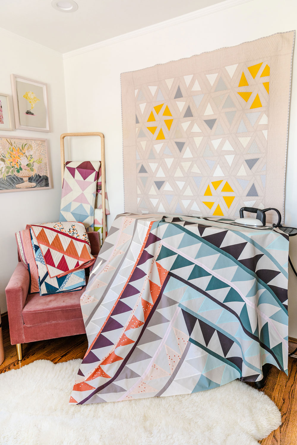 Gather is an HST modern quilt pattern with a unique twist! This instant PDF download comes in queen, twin, throw and baby quilt sizes. suzyquilts.com #quilt