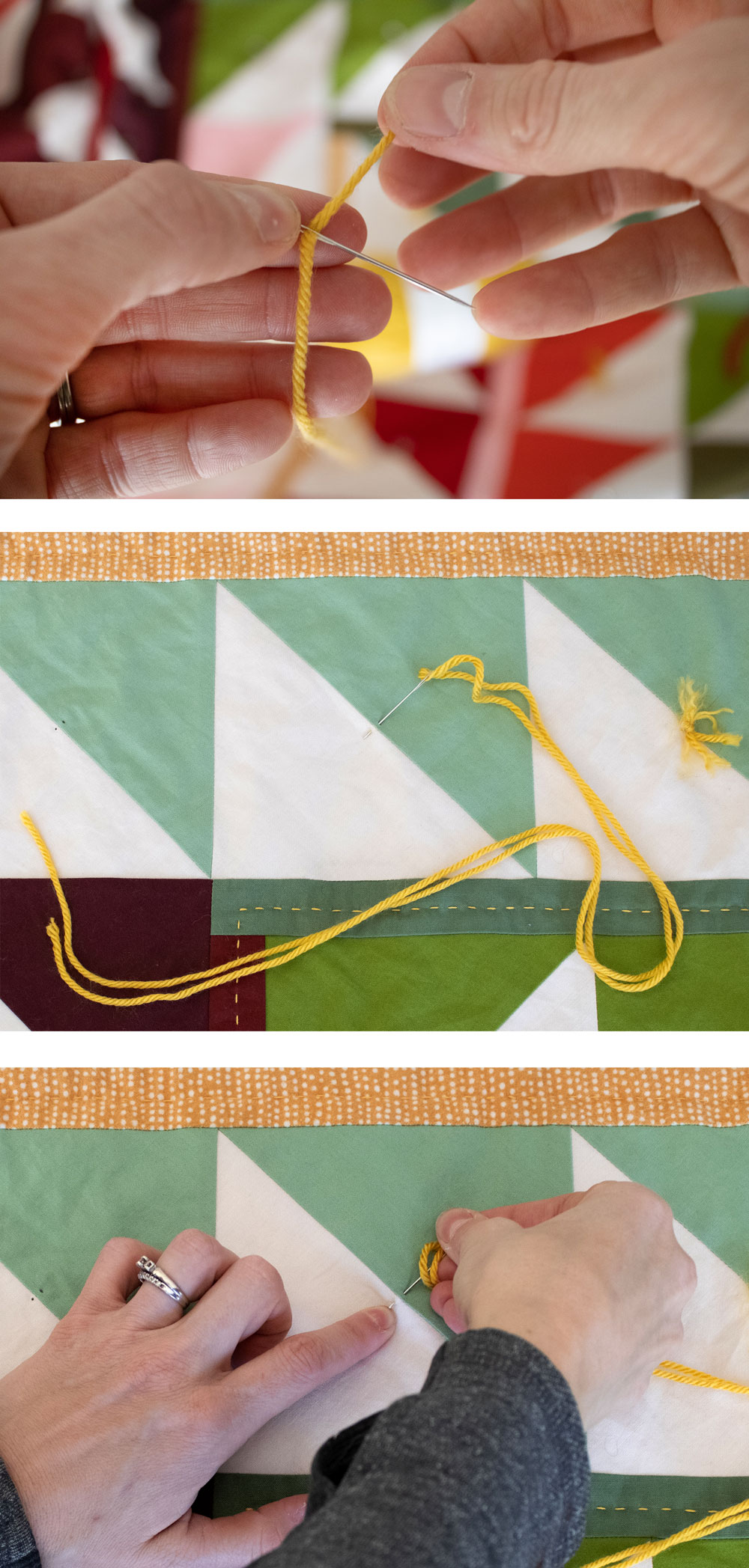 This quilt tying tutorial shows how to tie a quilt with yarn or embroidery thread. Quilt ties is an easy and fast way to finish a quilt. suzyquilts.com #quilting #quiltingtutorial
