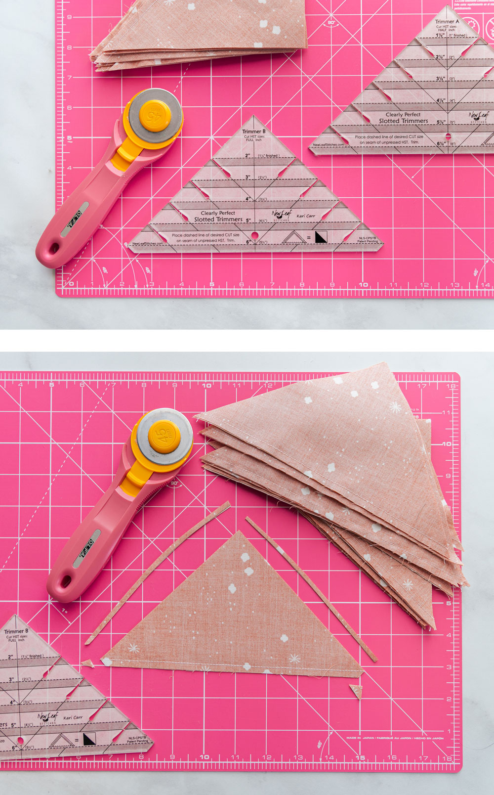 The best tutorial on how to trim half square triangles for quilting! Make perfect HSTs every time with this sewing method. suzyquilts.com #quilting #hst