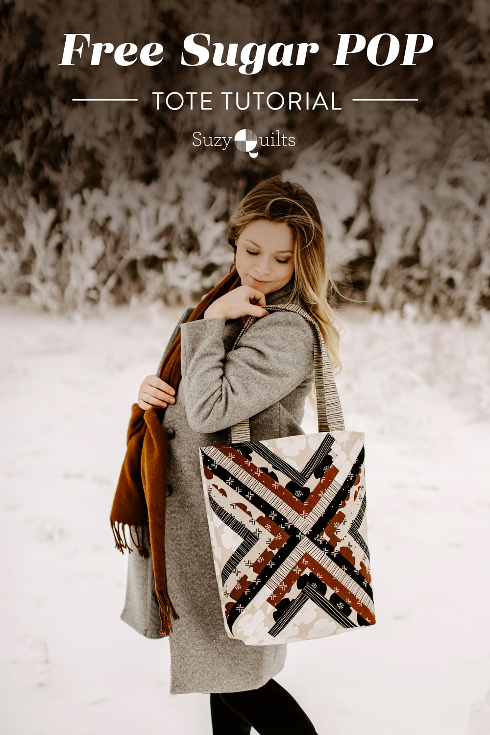 This beginner friendly Sugar POP trendy tote tutorial walks you through step by step instructions to create a beautiful quilted tote bag! suzyquilts.com #totetutorial #DIYtote