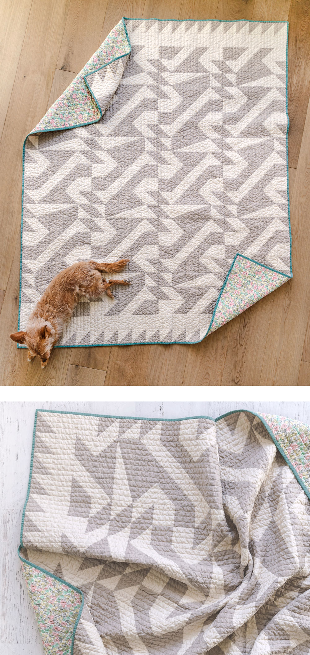 The two-color Voyage quilt pattern is great for beginners! It includes king, queen, twin, throw and baby quilt sizes plus instructions for a multi-color quilt that is fat quarter friendly. suzyquilts.com #quiltpattern #modernquilt