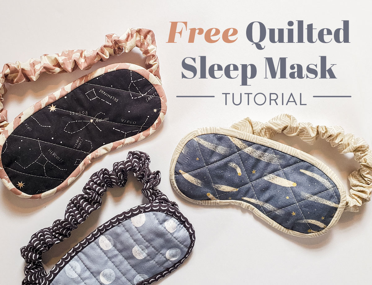 Use your scrap fabric to make this free quilted sleep mask! | suzyquilts.com #sewingtutorial #DIYsewing
