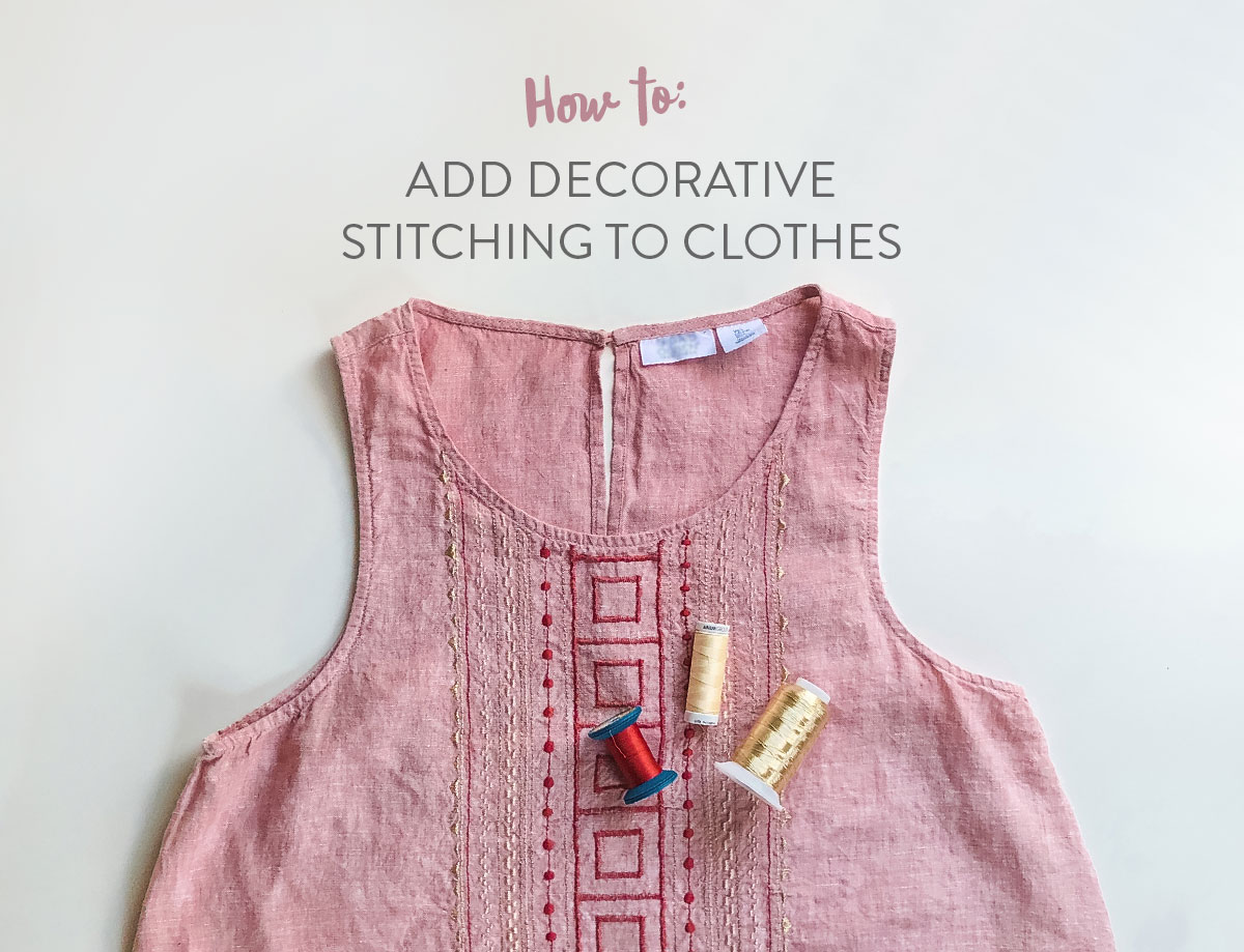 How to use embroidery stitches on your sewing machine! Refresh your wardrobe by adding decorative stitching to clothes! These are simple embroidery stitches on most sewing machines. suzyquilts.com #sewing #DIY