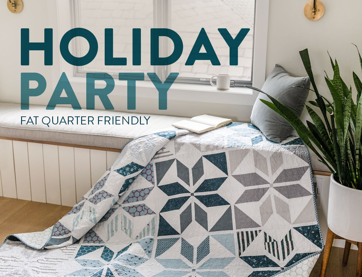 Holiday Party is a fat quarter friendly Christmas quilt pattern that includes a video tutorial and lots of different sizes and color variations! suzyquilts.com #christmasquilt #quiltpattern